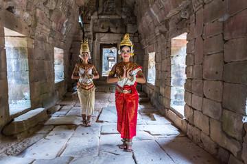 Cambodia, Siem Reap, Angkor Wat complex. Khmer Apsara dancers in a temple