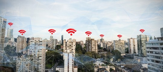 Composite image of red wifi symbol