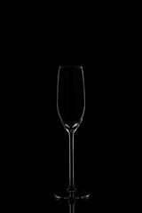 Champagne glass  on the dark background