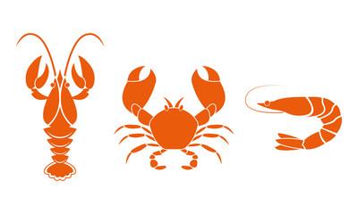 Shrimp, crawfish and crab icons. Seafood design elements. Vector illustration.