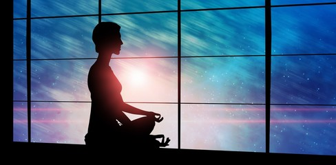 Composite image of side view of person practicing meditation