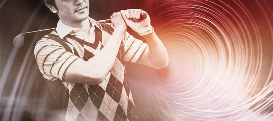 Composite image of golfer holding his club on shoulder