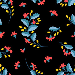 Seamless floral pattern. Small branches with flowers and berries and leaves on a black background. Prints for textiles.