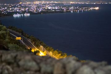 night highway and ocean