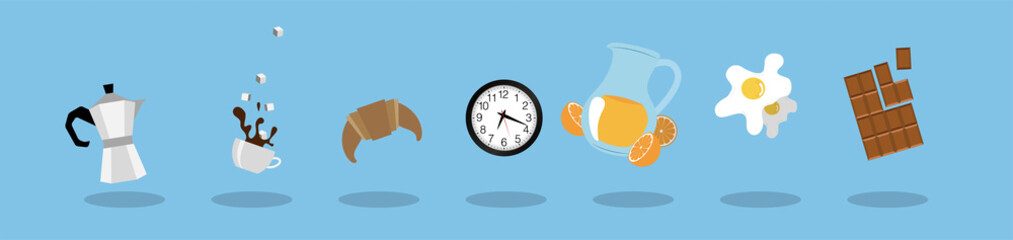 icone, colazione, mattina, moka