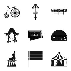 Bicycle show icons set, simple style