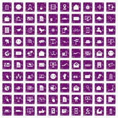 100 mail icons set grunge purple