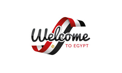 Welcome to Egypt flag sign logo icon