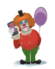 The crying clown celebration will not be/ The clown is crying, will not be a holiday this information to send on the phone to loved ones, friends and acquaintances, and tell them that they are sad