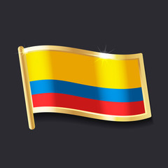 flag of Colombia in the form of badge, flat image