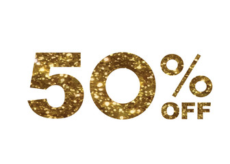 luxury golden glitter fifty percent discount word text