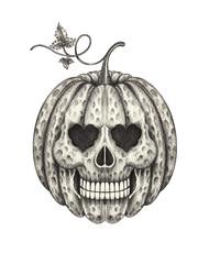 Art Pumpkin Skull. Hand pencil drawing on paper.