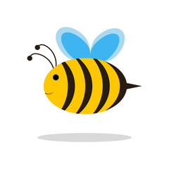 Bee. funny. The cartoon. Simple flat style. Yellow. Insect. Plump. For your design.