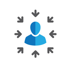 Target market icon with arrows and person