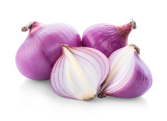 Slices of shallot onions for cooking on white background.