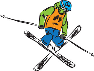skiing freestyle jump vector illustration