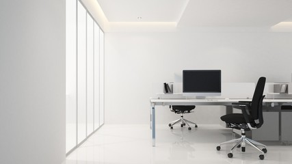 The interior workplace in office - 3D Rendering