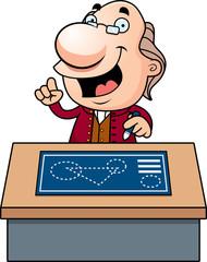 Cartoon Ben Franklin Blueprints