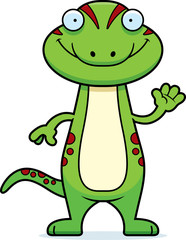 Cartoon Gecko Waving