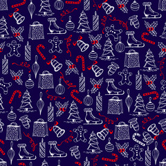 Christmas seamless texture with the Christmas objects made in the-hand painted style.