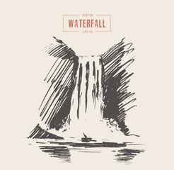 Vintage illustration of beautiful waterfall drawn