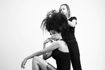 Model and hair stylist