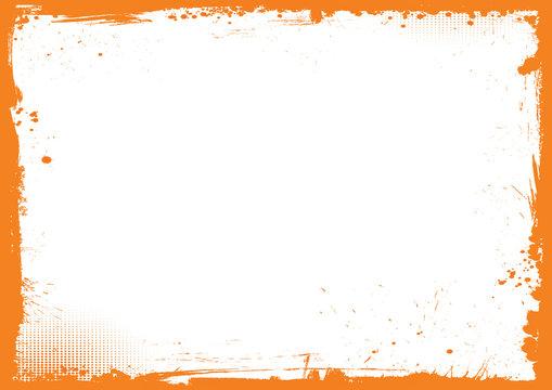 horizontal orange and black Halloween background, grunge border