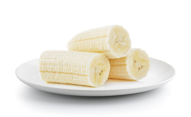 slice banana in a plate isolated on a white background