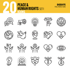 Peace and Human Rights icon set1. Flat thin line icons design. vector