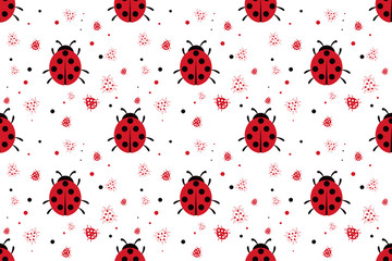 Seamless pattern with abstract ladybugs