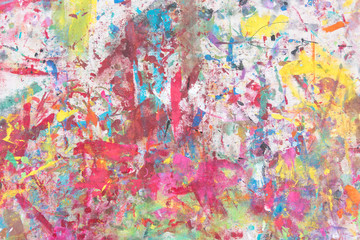 Grunge acrylic hand painted on canvas background. Close-up full frame view abstract texture art,  colorful illustration. Brushstrokes of paint. Unusual handmade wallpaper for poster, card, invitation.