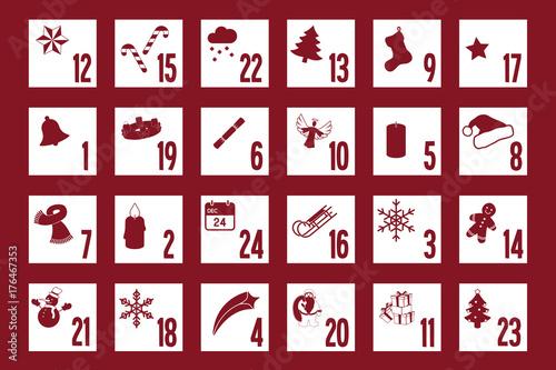 adventskalender rot mit symbolen auf den t rchen. Black Bedroom Furniture Sets. Home Design Ideas
