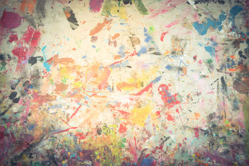 Grunge acrylic hand painted on canvas vintage. Close-up full frame view abstract texture art,  colorful illustration. Brushstrokes of paint. Unusual handmade wallpaper for poster, card, invitation.