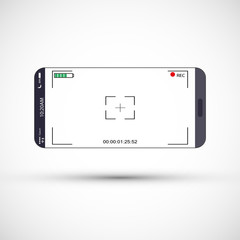 Mobile phone screen with camera viewfinder. Smartphone with focusing screen background