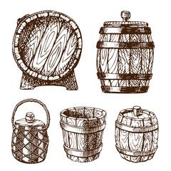 Wooden barrel vintage old hand drawn sketch storage container liquid beverage fermenting distillery cargo drum lager vector illustration.