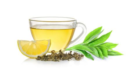glass of tea and tea leaf on white background