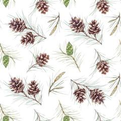 Watercolor fir cone vector pattern
