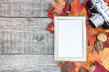 old classic camera and photo frame on grunge wooden background with colorful dried autumn leaves