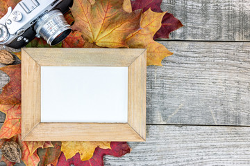 autumn colorful dry maple leaves with empty photo frame and classic camera on old wooden table background