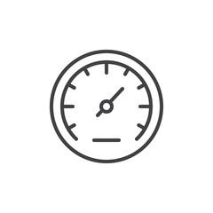 Speedometer line icon, outline vector sign, linear style pictogram isolated on white. Gauge symbol, logo illustration. Editable stroke