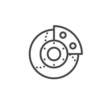 Car brake system line icon, outline vector sign, linear style pictogram isolated on white. Symbol, logo illustration. Editable stroke