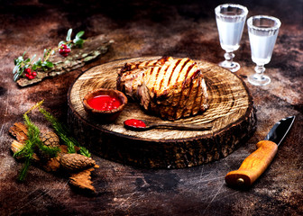 Wall Mural - Roast beef with cranberry sauce