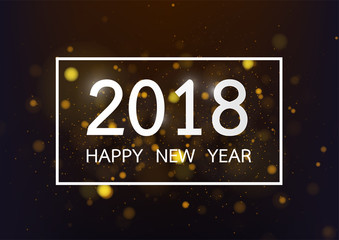 Happy new year 2018 with glod bokeh and defocused lights style background. Vector illustration