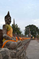 The view around Ayutthaya Historical park, Thailand. It's a UNESCO world heritage, filled by temples and Buddha statues