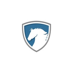 horse with shield logo