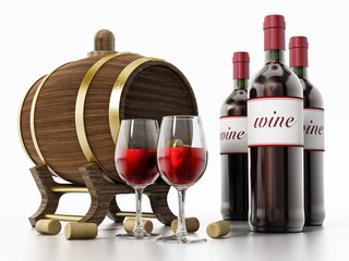 Wine bottles, corks, glasses and barrel isolated on white background. 3D illustration