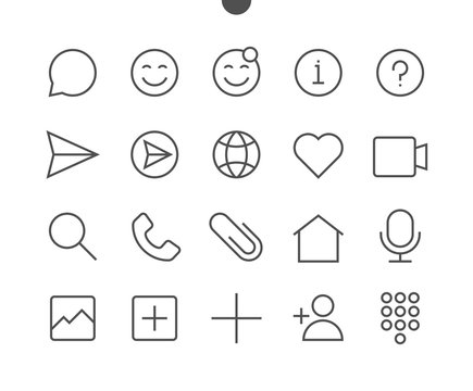 Chat UI Pixel Perfect Well-crafted Vector Thin Line Icons 48x48 Ready for 24x24 Grid for Web Graphics and Apps with Editable Stroke. Simple Minimal Pictogram