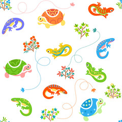 Seamless cartoon pattern with lizards and turtles / Lizards and turtles with bushes and traces
