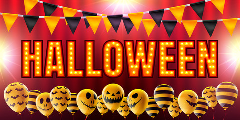Hollywood photos royalty free images graphics vectors videos halloween concept with halloween ghost balloonsary air balloons and retro light sign for halloween stopboris Images