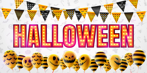 Halloween concept with Halloween Ghost Balloons.Scary air balloons and Retro light sign for Halloween.Flyer or invitation template,Brochures,Poster or Banner.Vector illustration EPS10